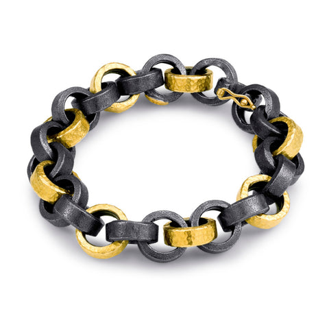ARA 24k Yellow Gold and Oxidized Silver Round Link Bracelet