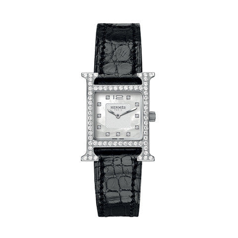 Hermes Heure H PM Diamond Gem-Set Dial, Case and Marker Stainless Steel Watch