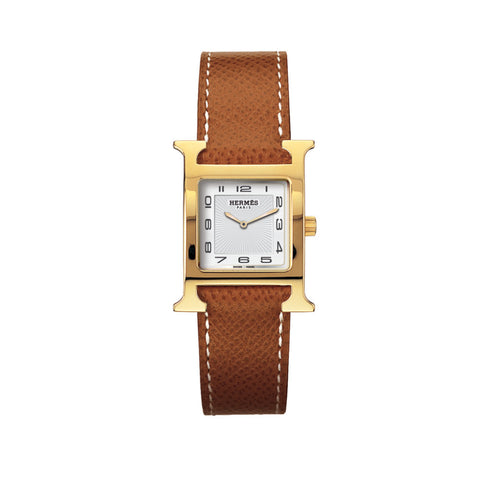 Hermes Heure H PM Gold-Plated Steel Watch with Interchangeable Strap