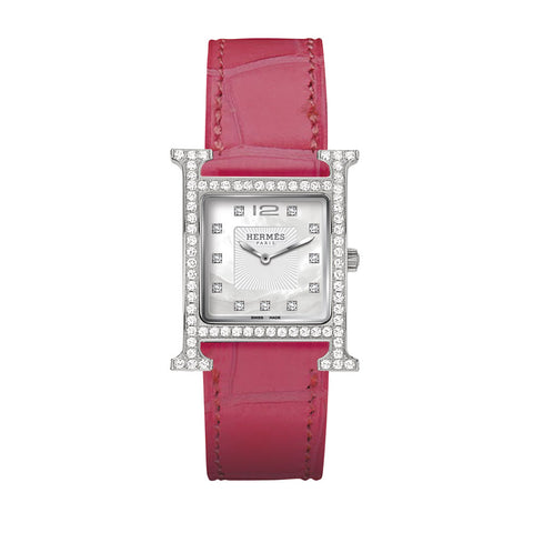 Hermes Heure H MM Diamond Gem-Set Case and Marker Steel Watch