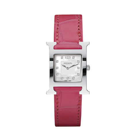 Hermes Heure H PM Diamond Gem-Set Marker Stainless Steel Watch