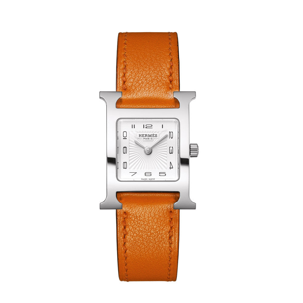 Hermes Heure H Pm Steel Watch With Interchangeable Strap