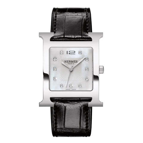 Hermes Heure H TGM Diamond Gem-Set Dial Stainless Steel Watch