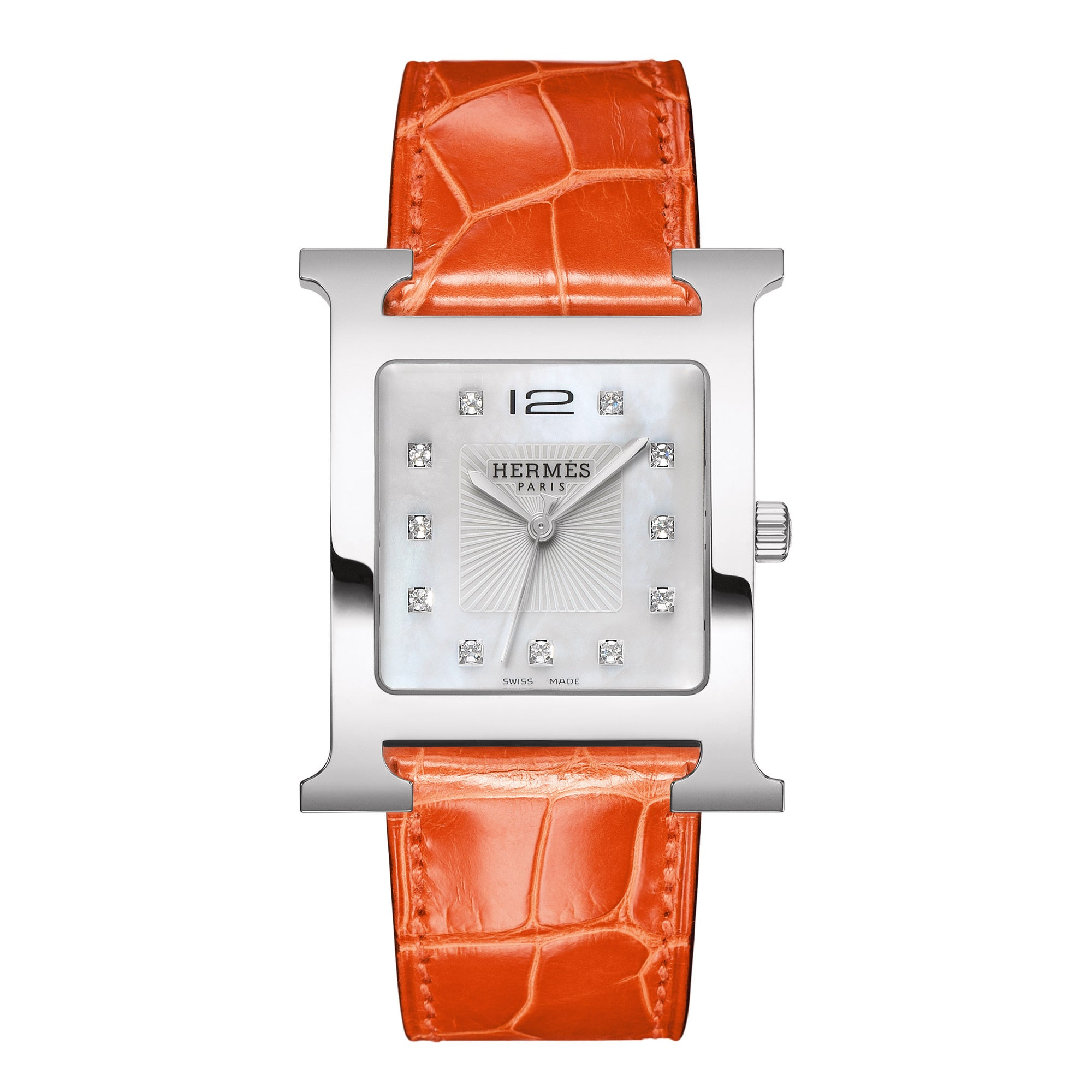 hermes orange strap watch desires divers clipper watches chronograph products quartz rubber with by chrono