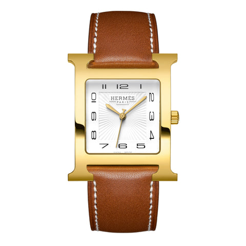 Hermes Heure H TGM Gold-Plated Stainless Steel Watch with Interchangeable Strap
