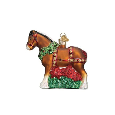 Old World Christmas Holiday Clydesdale Ornament