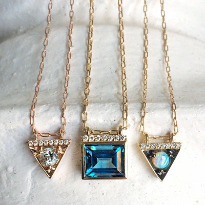 Bold Baguette Necklace in London Blue Topaz