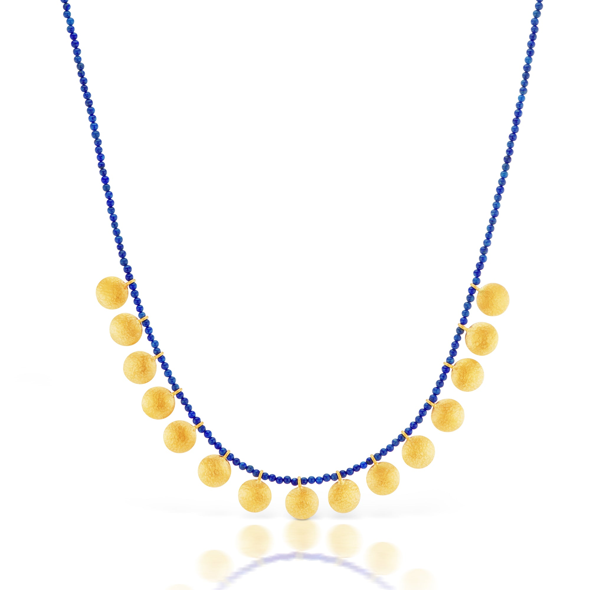 Lapis and Gold Disc Necklace in 24k Yellow Gold Desires by Mikolay