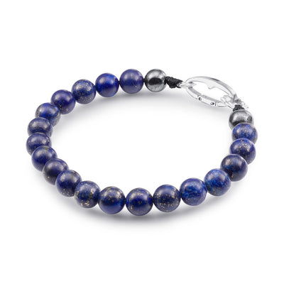 Scott Mikolay Lapis and Pyrite Beaded Men's Bracelet