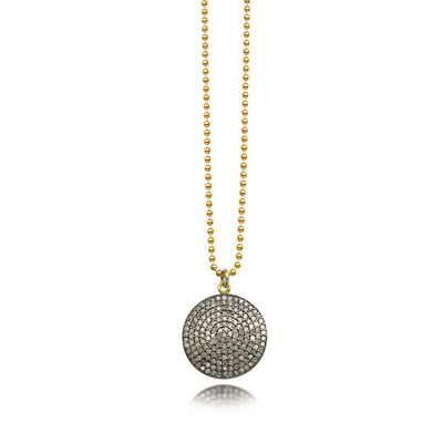 Diamond Disc Oxidized Necklace on Gold Bead Chain