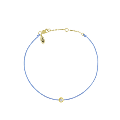 Pop Diamond Bracelet with Light Blue Cord