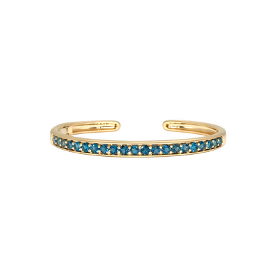 3mm Round Hinged Oval Cuff with London Blue Topaz
