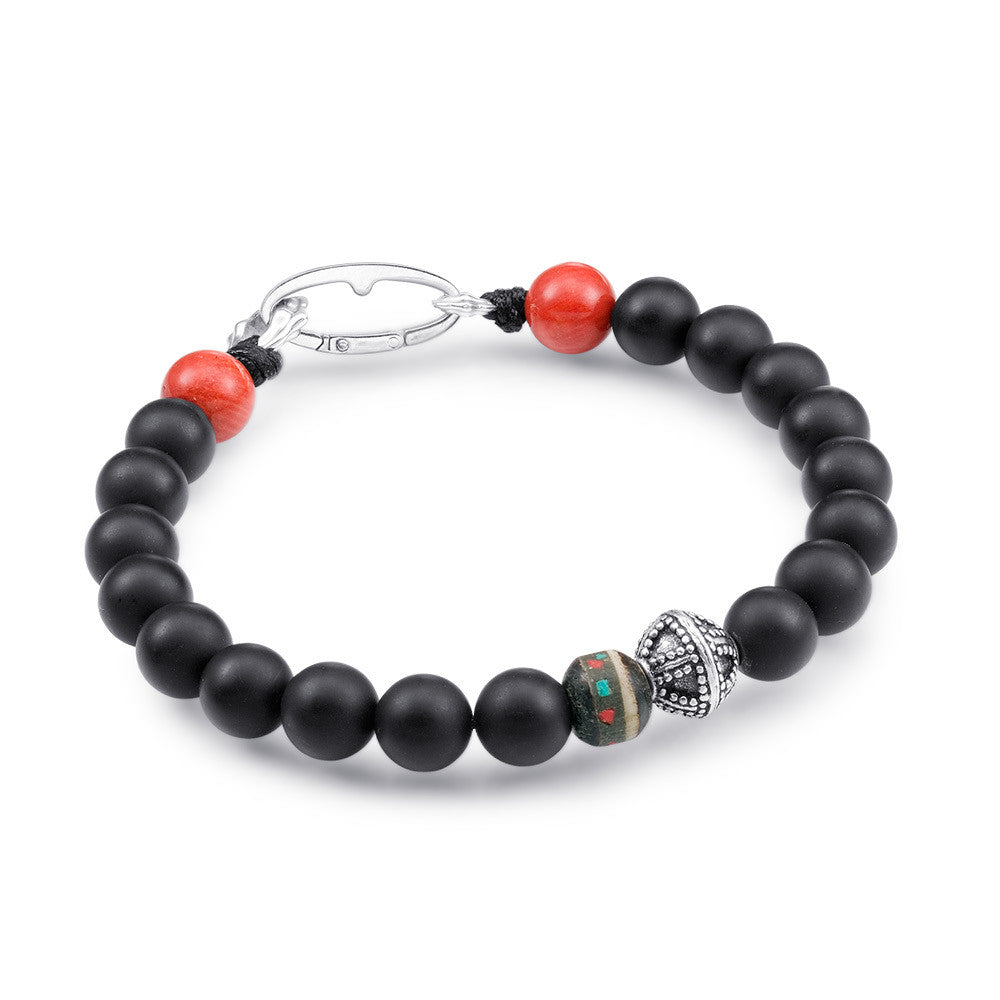 Scott Mikolay Matte Black Onyx with Red Coral Ends Men's Bracelet