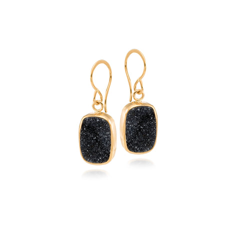 MJM Black Druzy Gold Earring