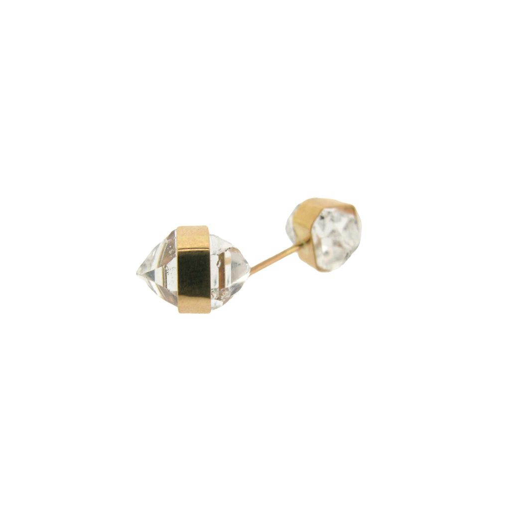 MJM Gold Wrapped Herkimer Diamond Quartz Stud
