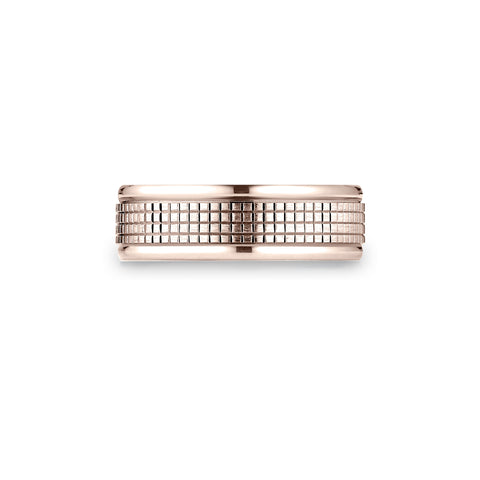 Crosshatch Mens Wedding Band