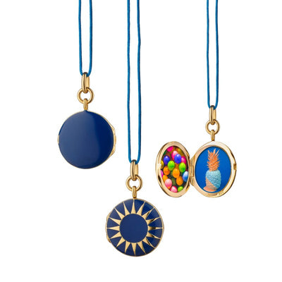 Navy Enamel Vermeil Round Locket