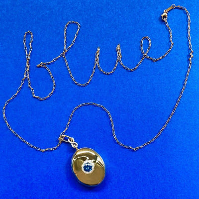 Sapphire Infinity Locket in Yellow Gold