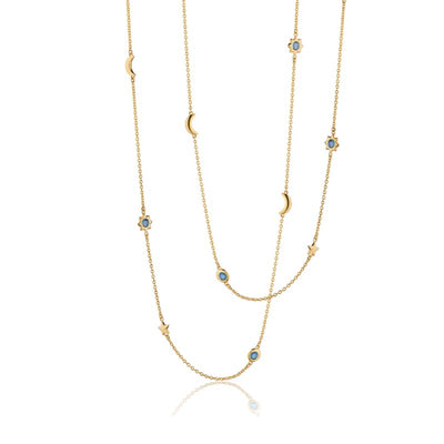 Sun, Moon and Stars London Blue Topaz Necklace
