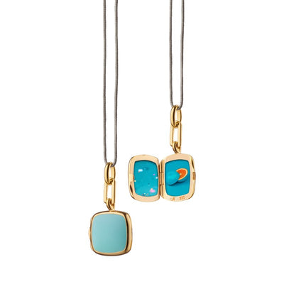 Turquoise Enamel Vermeil Cushion Locket