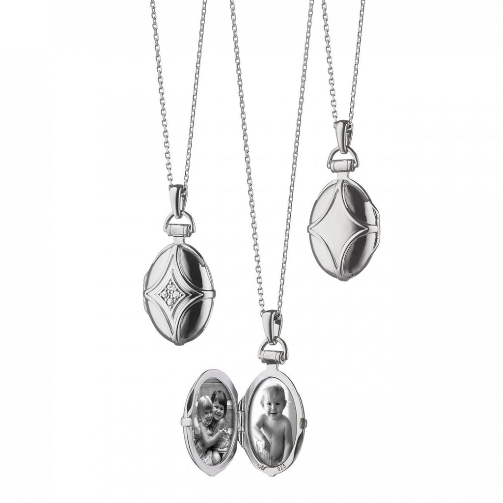 Petite Oval Bridle Locket Pendant in Silver