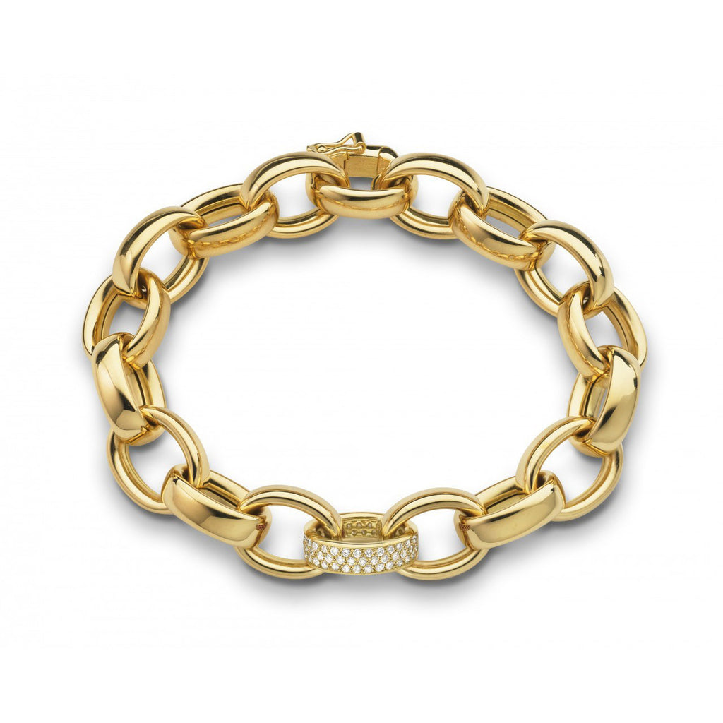 Yellow Gold Link Bracelet with Pave Diamonds