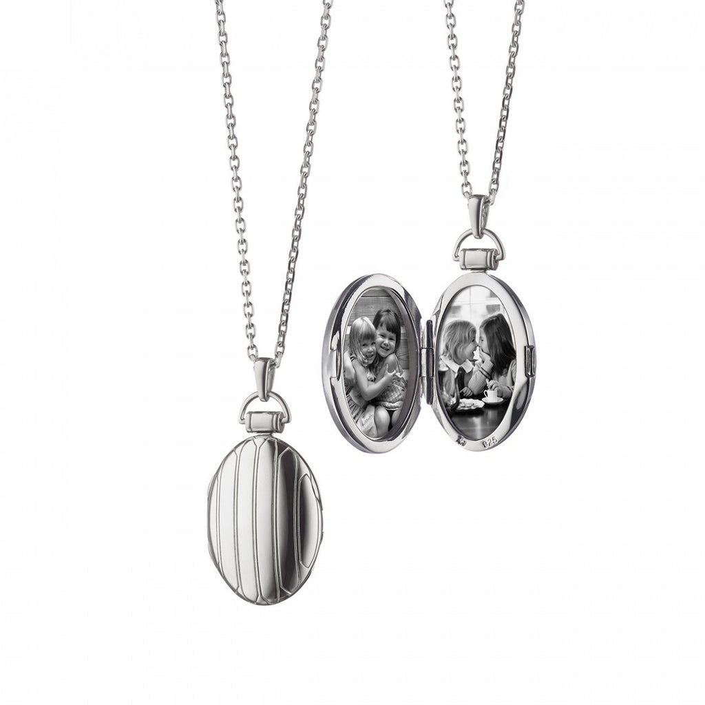 Oval Pinstripe Locket Pendant in Silver