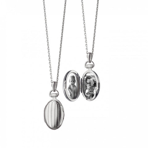 Petite Oval Pinstripe Locket Pendant in Silver