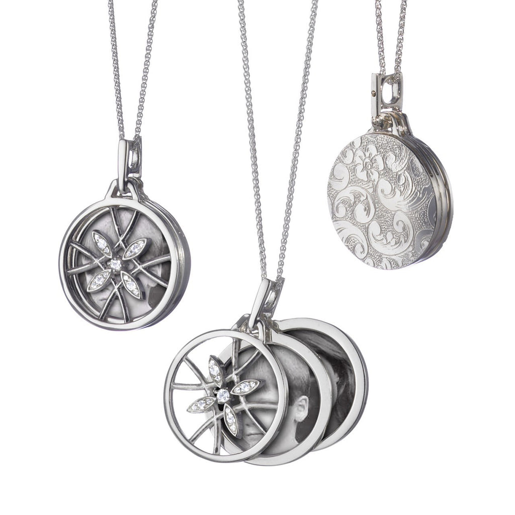 Round Gate Locket Pendant in Silver