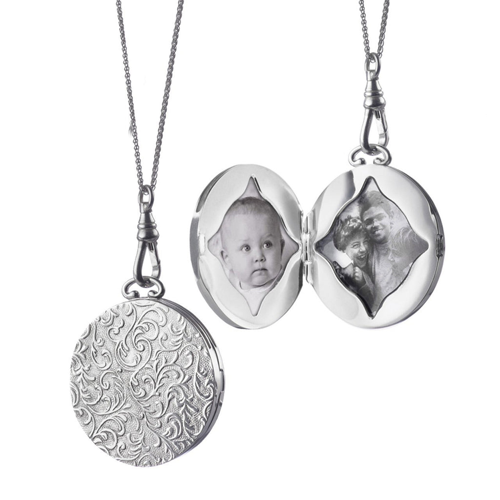 Large Round Vine Locket Pendant in Silver