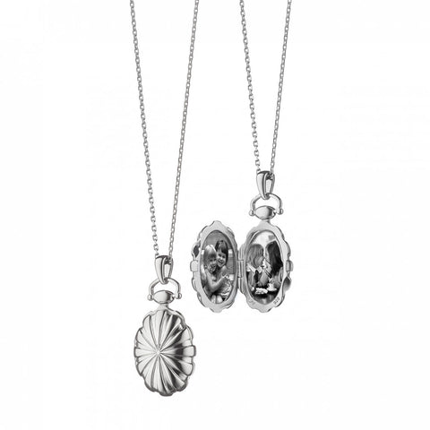 Petite Oval Sunburst Locket Pendant in Silver