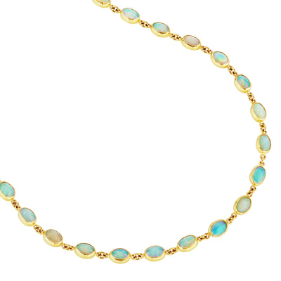 Bezel Set Opal Long Wrap Necklace in 24k Yellow Gold