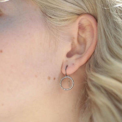 Oxidized Open Circle Diamond Earrings