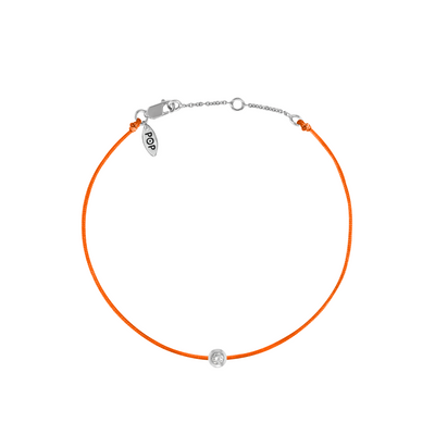 Pop Diamond Bracelet with Orange Cord