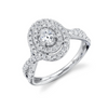 Oval Double Halo Eternal Diamond Engagement Ring with Entwined Band