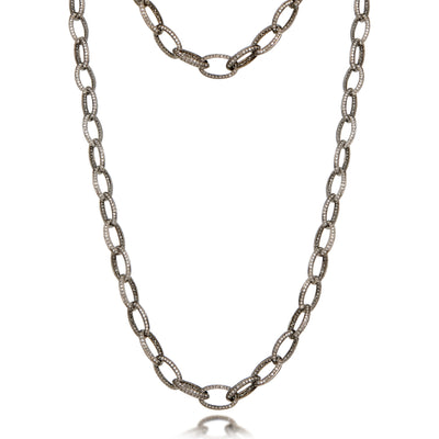 Oval Link Raw Diamond Long Wrap Necklace