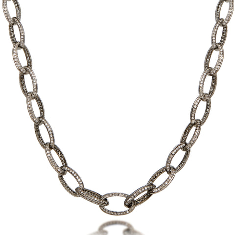 Raw Diamond Oval Link Long Wrap Necklace