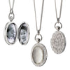Oval Gemstone Pocket Watch Locket in Silver