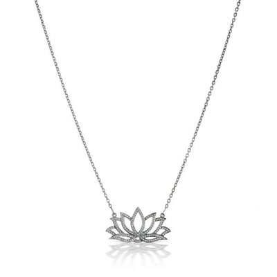 Oxidized Diamond Lotus Flower Necklace