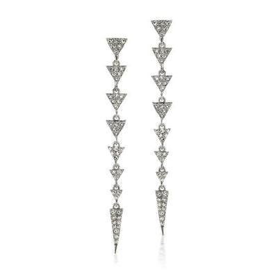 Oxidized Diamond Triangle Dangly Hanging Earrings