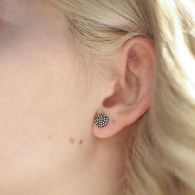 Medium Oxidized Round Disc Post Earrings with Pave Diamonds