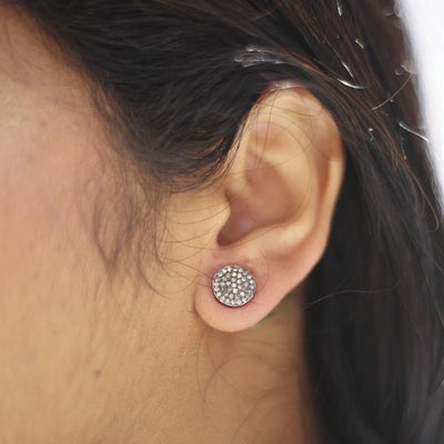 Large Oxidized Round Disc Post Earrings with Pave Diamonds