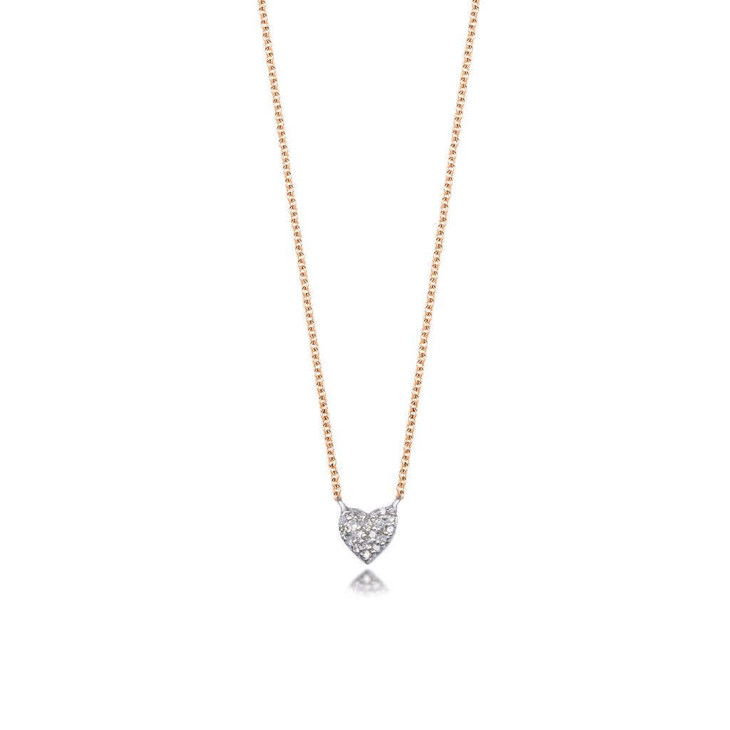 Rose gold and sterling silver diamond heart pendant necklace