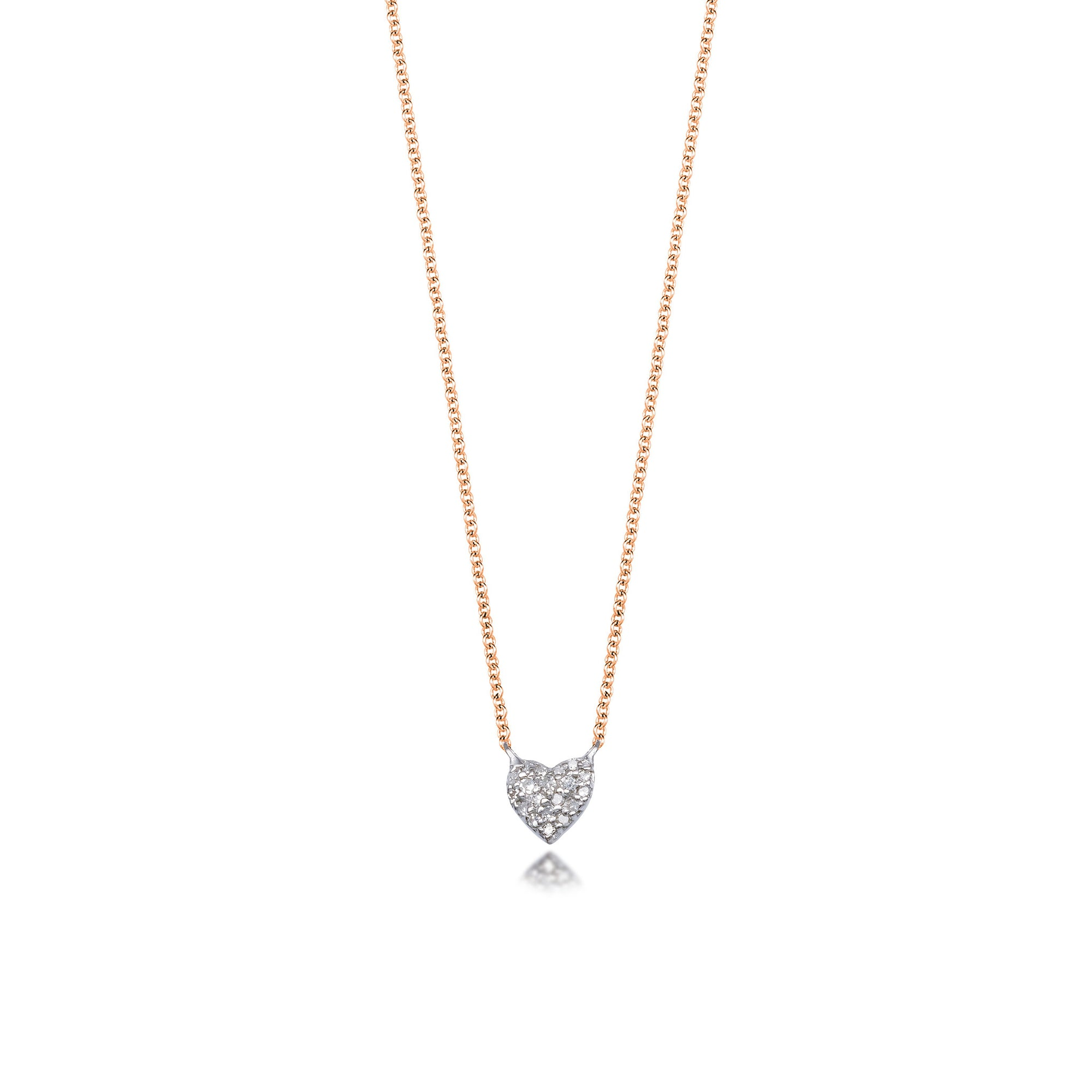 3c9bade0db079 Rose gold and sterling silver diamond heart pendant necklace