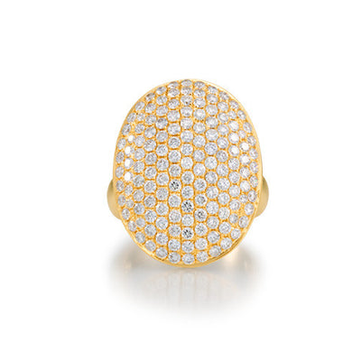 Pave Diamond Oval Cocktail Ring in 18k Yellow Gold