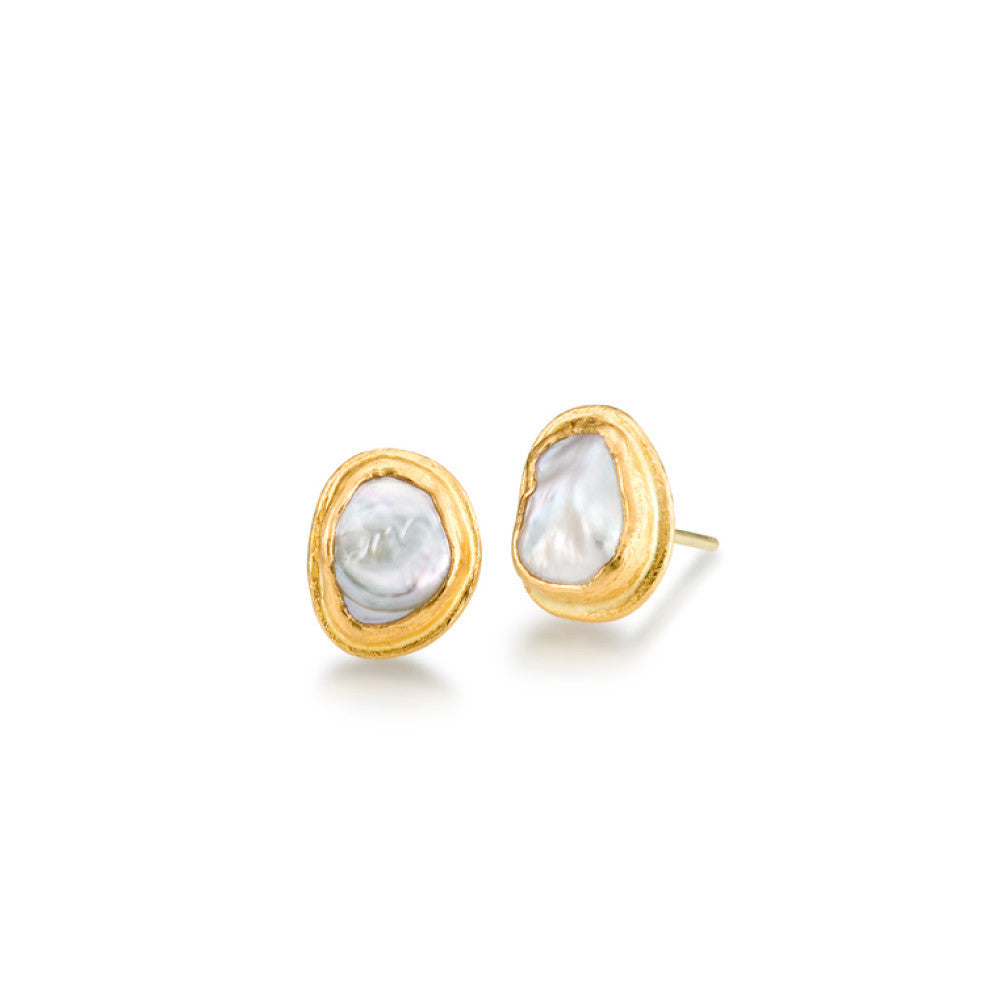 24k Yellow Gold Freshwater Pearl Stud Earring