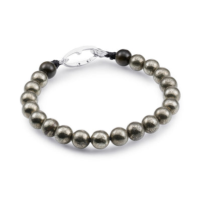 Scott Mikolay Pyrite and Obsidian Rock Beaded Men's Bracelet