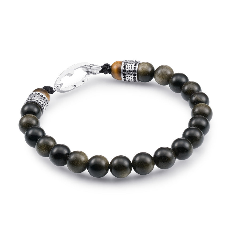 Scott Mikolay Obsidian with Tigers Eye Ends Men's Bracelet