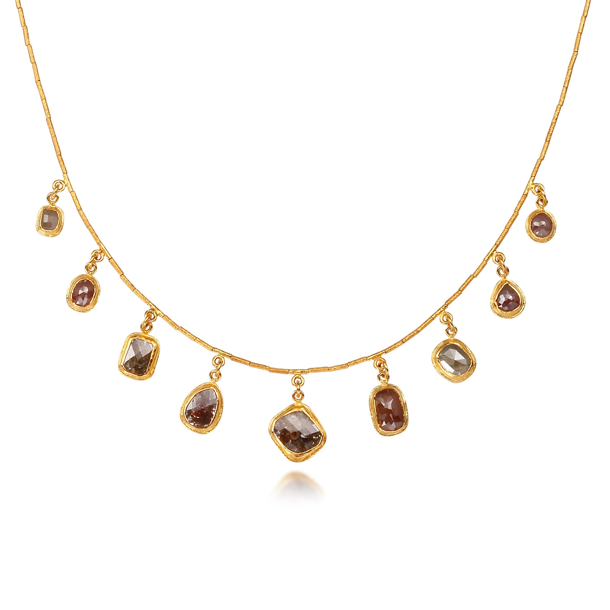 Diamond dangly necklace Diamond charm necklace Diamond gold chain necklace Multi diamond Diamond gift for her Diamond slice necklace