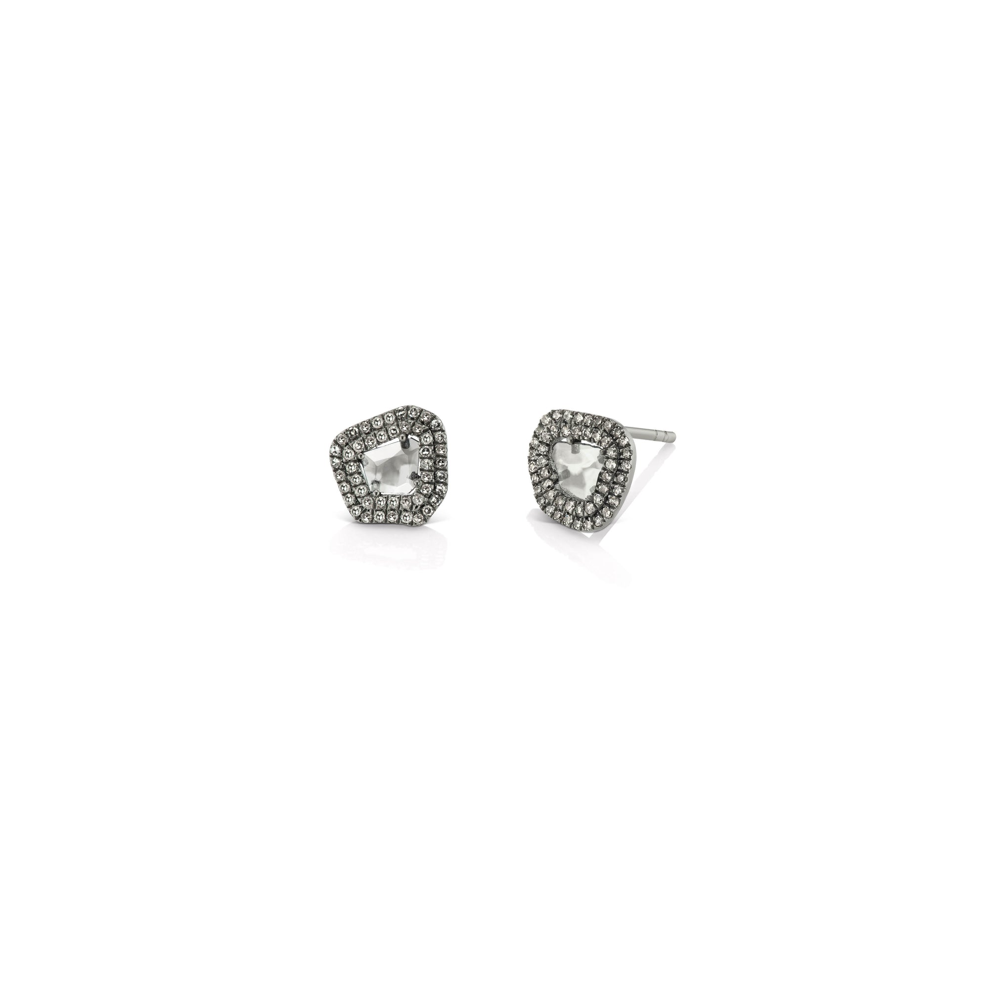 Raw Diamond Slice Stud Earrings With Double Halo Desires By Mikolay